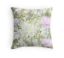 Pink and White - Floral - Digital Art Throw Pillow