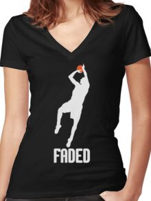 Faded - White Women's Fitted V-Neck T-Shirt