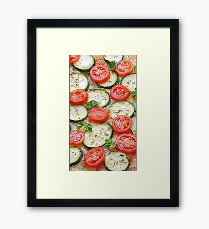 Veggie background with zucchini and fresh cherry tomatoes Framed Print