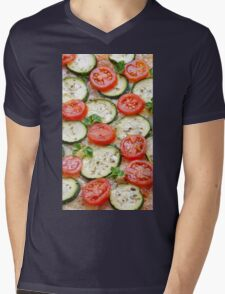 Veggie background with zucchini and fresh cherry tomatoes Mens V-Neck T-Shirt