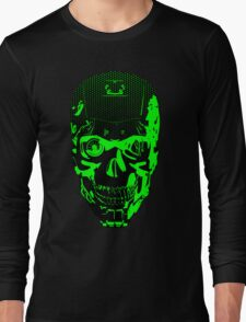 Gamer Skull CARTOON GREEN Long Sleeve T-Shirt