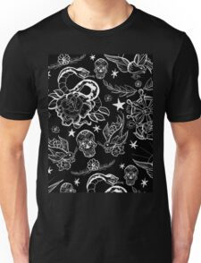 Black and White Inked Alternative Flash Pattern Unisex T-Shirt