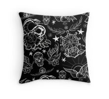 Black and White Inked Alternative Flash Pattern Throw Pillow