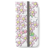 Yellow hearted pink flowers iPhone Wallet/Case/Skin