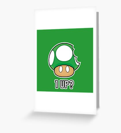 Super Mario, 1 UP Mushroom Greeting Card
