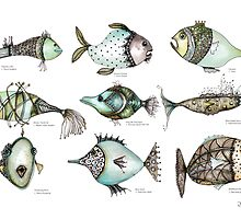 Species of fish in the imaginary world by Jenny Wood