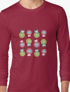 Pink and green matryoshka on white background Long Sleeve T-Shirt