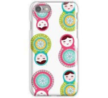 Pink and green matryoshka on white background iPhone Case/Skin