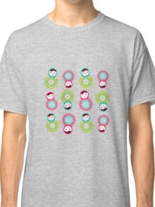 Pink and green matryoshka on black background Classic T-Shirt