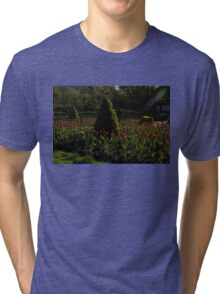 Downtown Victorian Garden - Red Tulips and Sunshine Tri-blend T-Shirt