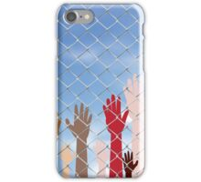 Hands Behind a Wire Fence 2 iPhone Case/Skin