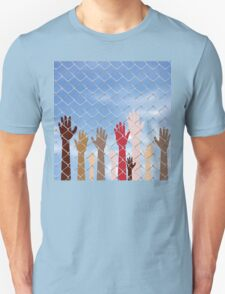 Hands Behind a Wire Fence 2 T-Shirt