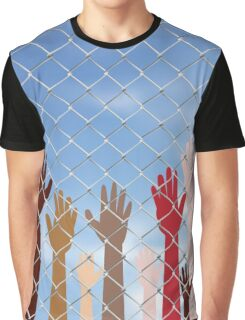 Hands Behind a Wire Fence 2 Graphic T-Shirt