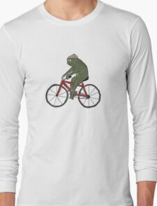 Gentleman Frog on a Bicycle Long Sleeve T-Shirt