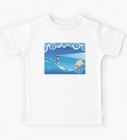Lighthouse and Boat in the Sea 6 Kids Tee