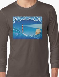 Lighthouse and Boat in the Sea 6 Long Sleeve T-Shirt