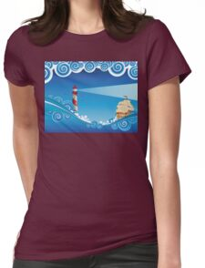 Lighthouse and Boat in the Sea 6 Womens Fitted T-Shirt