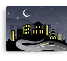 Night City and Road 2 Canvas Print