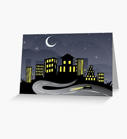 Night City and Road 2 Greeting Card