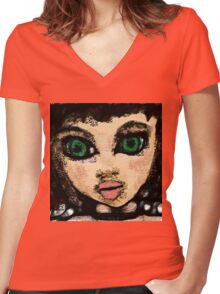 Green Eye Cutie Pie  5-14-16 Women's Fitted V-Neck T-Shirt