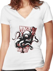 Monster from the Deep Women's Fitted V-Neck T-Shirt