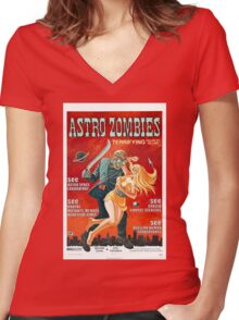 ASTRO ZOMBIES B MOVIE Women's Fitted V-Neck T-Shirt