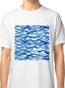 watercolor blue wave pattern Classic T-Shirt