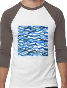 watercolor blue wave pattern Men's Baseball ¾ T-Shirt
