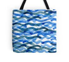 watercolor blue wave pattern Tote Bag