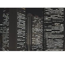 Skyscrapers at night Photographic Print
