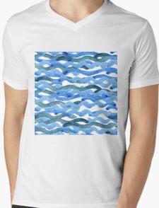 watercolor blue wave pattern Mens V-Neck T-Shirt