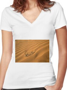 Desert sand dunes Women's Fitted V-Neck T-Shirt