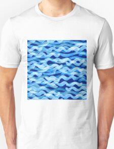 watercolor blue wave pattern Unisex T-Shirt