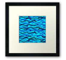 watercolor blue wave pattern Framed Print