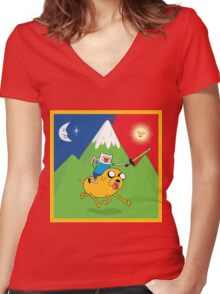 Finn & Jake Adventure Time Albert Hofmann Bikeride LSD Acid Trip Psychedelic Women's Fitted V-Neck T-Shirt