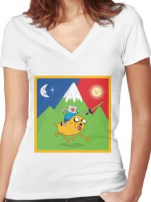 Finn & Jake Adventure Time Albert Hofmann Bikeride LSD Acid Trip Psychedelic Women's Fitted V-Neck T-Shirt