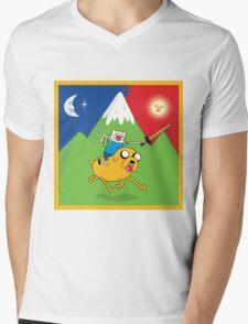 Finn & Jake Adventure Time Albert Hofmann Bikeride LSD Acid Trip Psychedelic Mens V-Neck T-Shirt