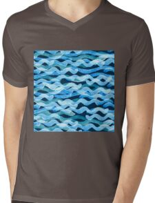 Abstract watercolor blue wave pattern, water texture sketch background. Drawing by hand illustration Mens V-Neck T-Shirt