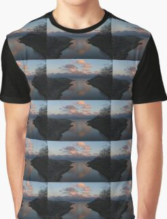 Pink and Blue Serenity - a Lakefront Stillness  Graphic T-Shirt