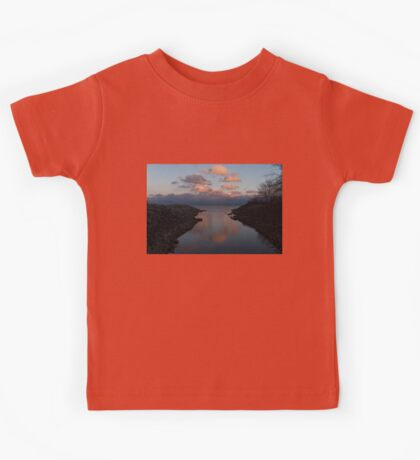 Pink and Blue Serenity - a Lakefront Stillness  Kids Tee