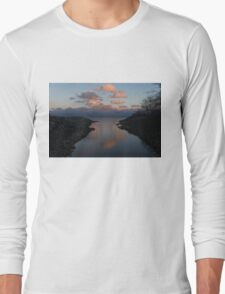 Pink and Blue Serenity - a Lakefront Stillness  Long Sleeve T-Shirt