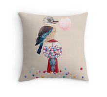 Bird gumball machine Kookaburra Throw Pillow