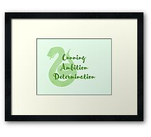 Slytherin - Cunning, Ambition, Determination Framed Print