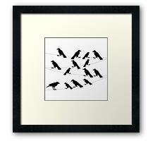 a flock of crows on a wire,vector illustration Framed Print