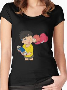 Sweet Ponyo Kiss Women's Fitted Scoop T-Shirt