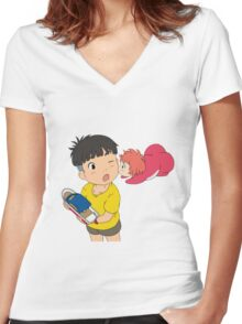 Sweet Ponyo Kiss Women's Fitted V-Neck T-Shirt