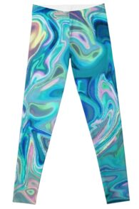 Blue Holographic Pattern Leggings