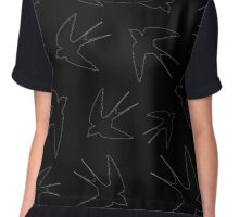 birds swallows on a black background,vector illustration Chiffon Top