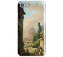 Hubert Robert  Imaginary View of Rome with the Horse-Tamer of the Monte Cavallo and a Church iPhone Case/Skin