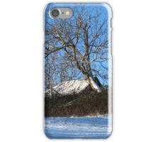 A Barn & Tree Romanian Winter scene iPhone Case/Skin